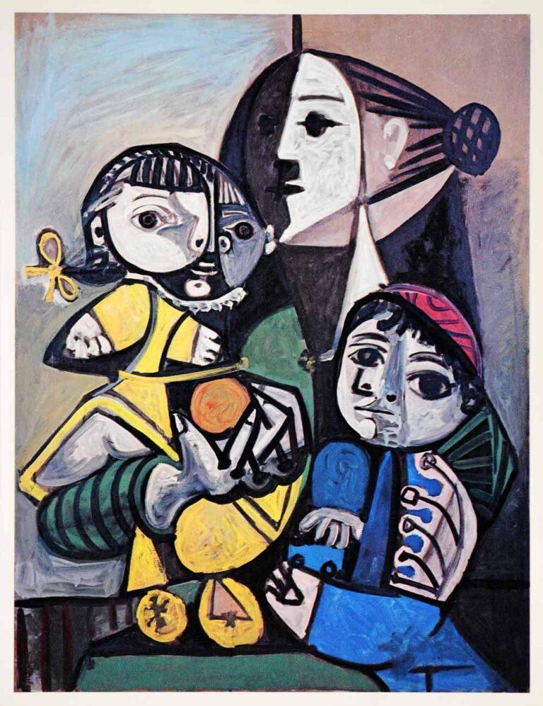 """""""Mãe com crianças e laranjas"""", Picasso, 1951"""
